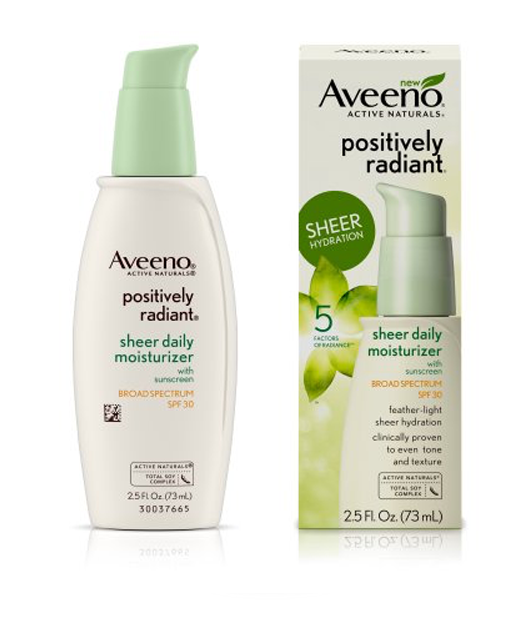 5. Aveeno Positively Radiant Daily Moisturizer Broad Spectrum SPF 30