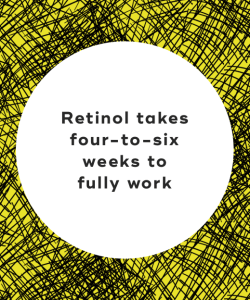 Retinol takes four-to-six weeks to fully work